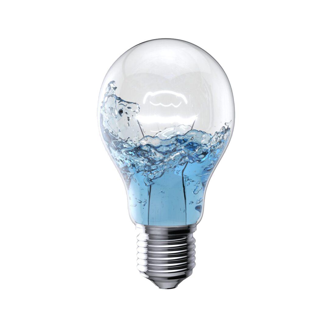 Water Liquid splashing inside light bulb lighting on white background. 3D Render.